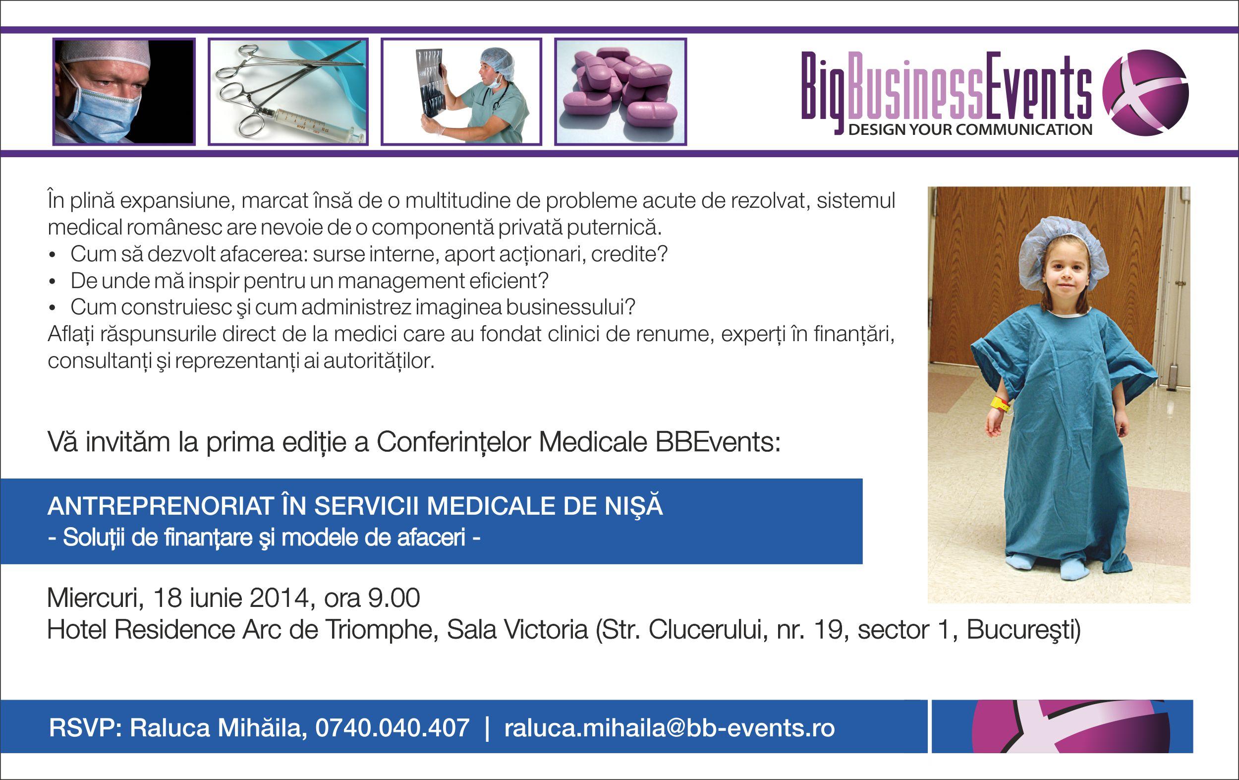 Invitatie BBEvents Antreprenoriat Servicii Medicale - 18.06.2014