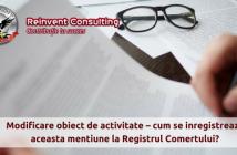 modificare obiect de activitate firma, Reinvent Consulting