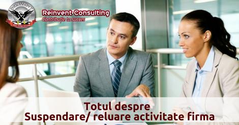 suspendare reluare activitate firma Reinvent Consulting