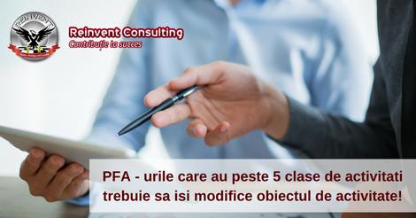PFA - urile care au peste 5 clase de activitati trebuie sa isi modifice obiectul de activitate!